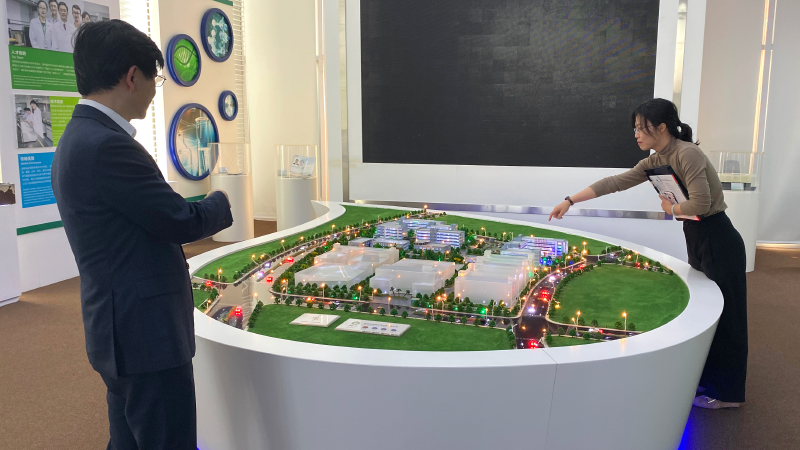 Dr. Min looks over a model of expansion plans for GenScript's Nanjing campus.