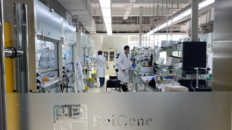 BeiGene scientists work at the company's Beijing research and development center.